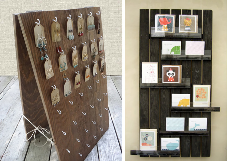 Recycled wooden display boards