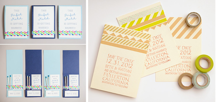 Washi Tape Save the Date card designs