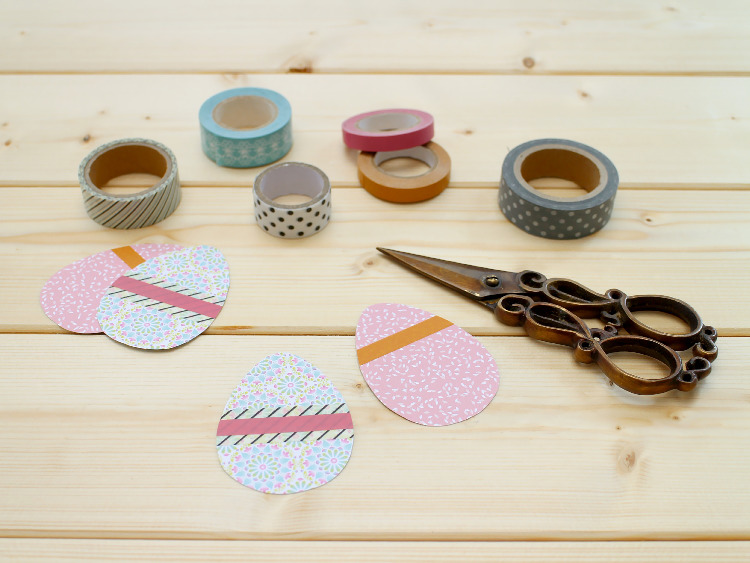 Decorate your scrapbook card eggs with washi tape