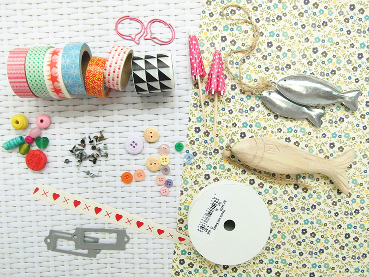 Scrapbook embellishments - tapes, charms, beads, buttons, ribbon