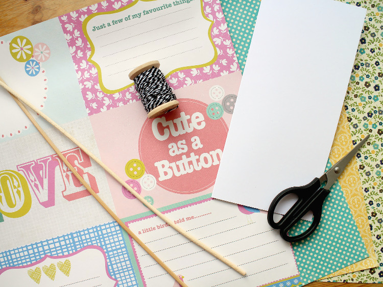 Scrapbook paper, bakers twine and scissors