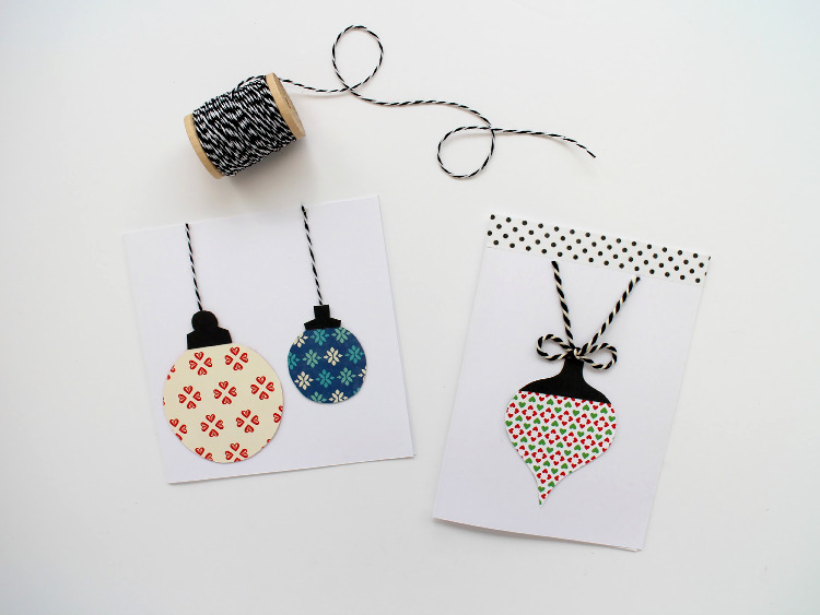 Scrapbook paper bauble Christmas cards