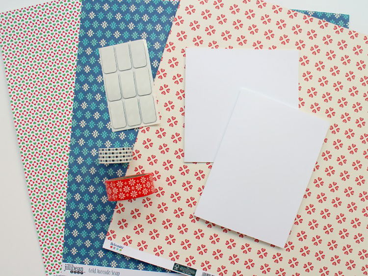 Scrapbook paper, card blanks and washi tape