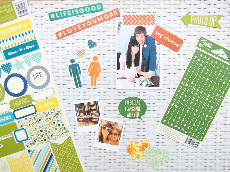 Scrapbook stickers and lettering