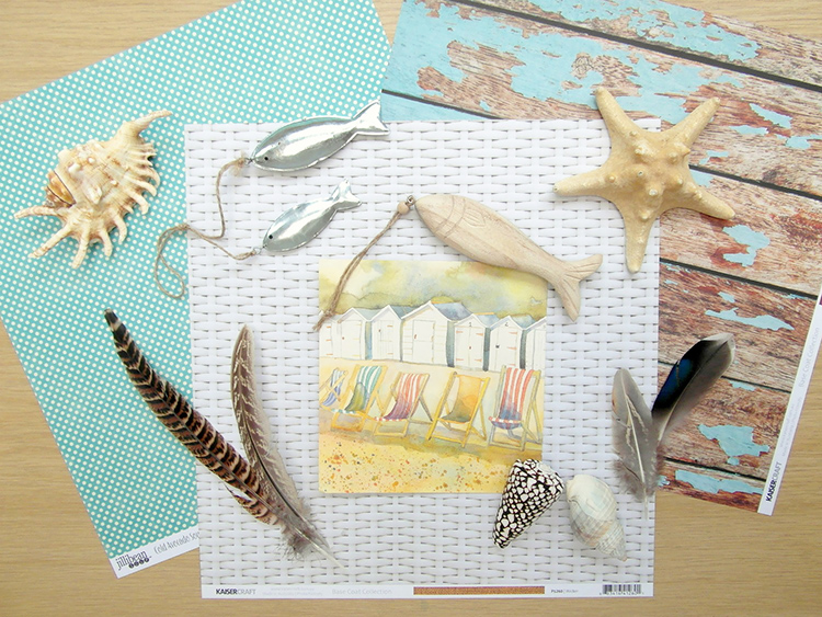 Beach themed scrapbook materials