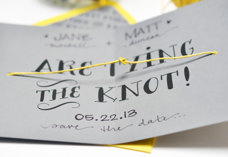 Imaginative Save the Date card that ties a knot