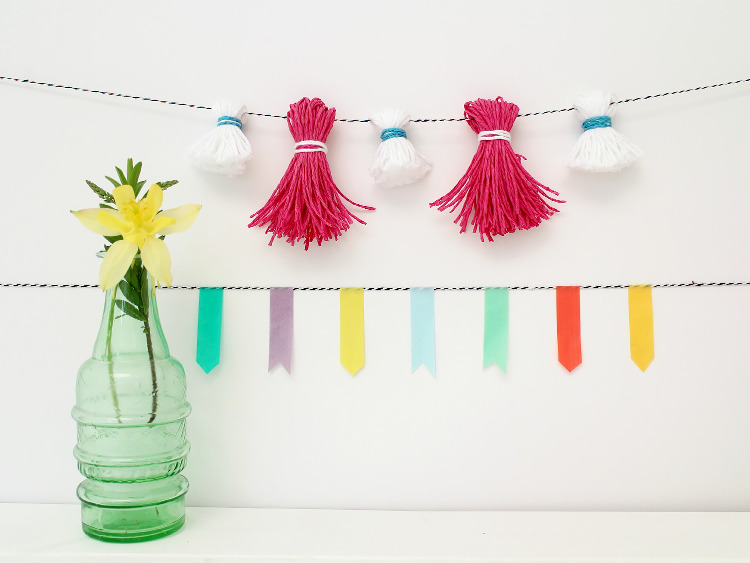 Tassle and washi tape garlands