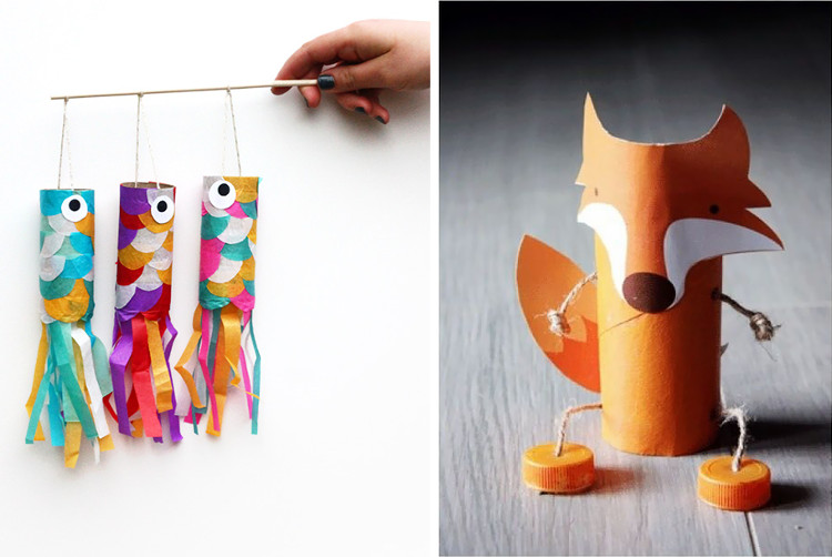 Toilet roll fish and fox puppets