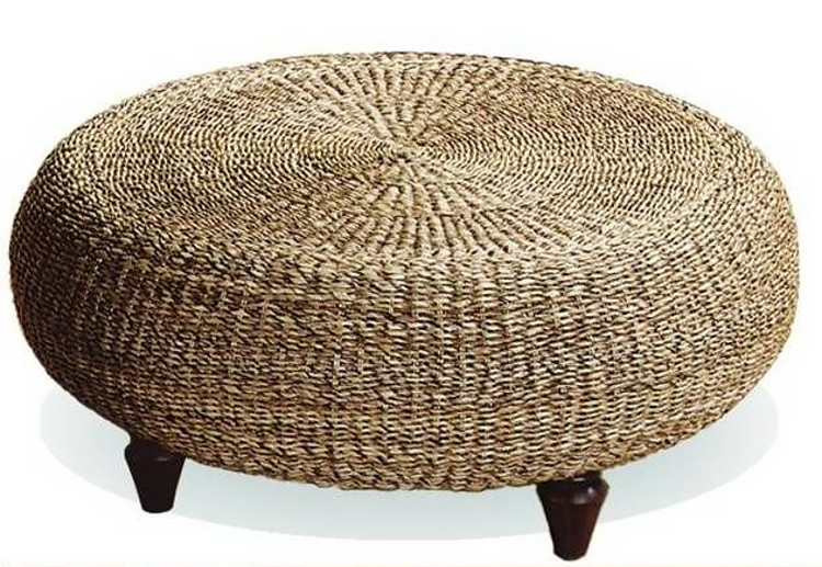Ottoman made from an old tyre and thick twine