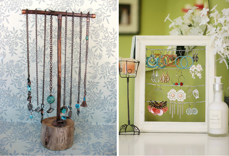 Upcycled copper pipe display and recycled wooden frame display