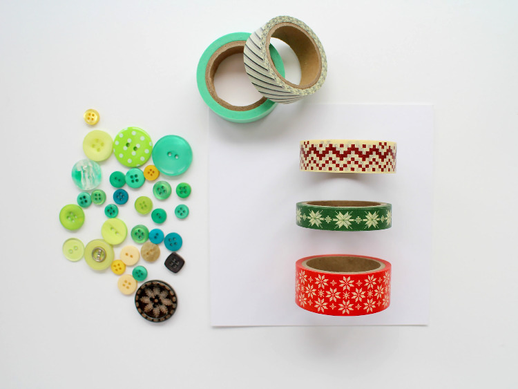 Card blanks, washi tape and buttons