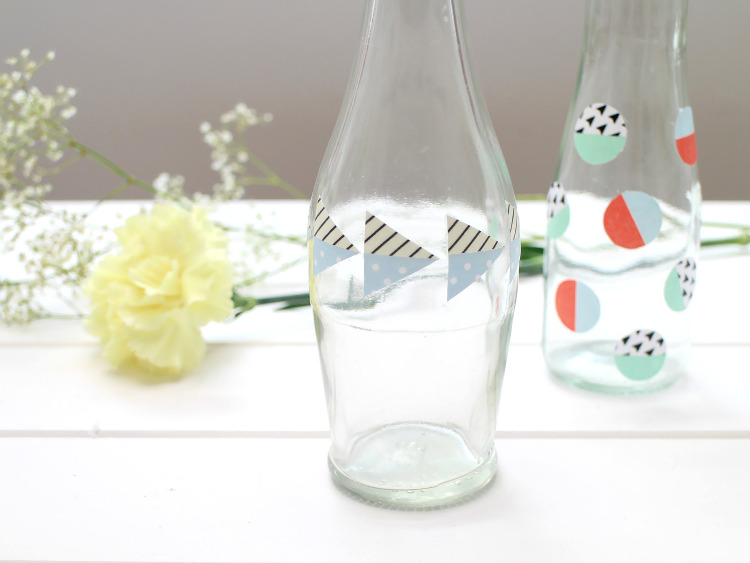 Washi tape stickers are great for jazzing up jars and bottles