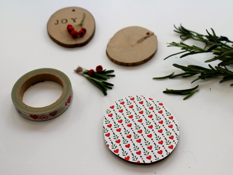 Wooden discs and washi tape