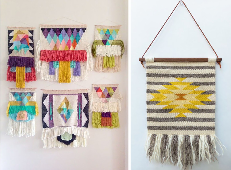 Geometric colourful woven wallhangings