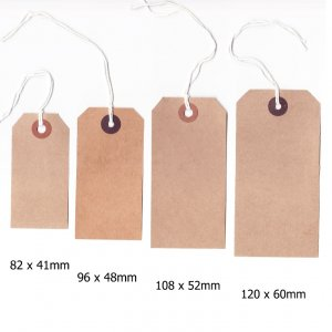 Buff Brown Strung Luggage Style Tags 96x48mm (20 pack)