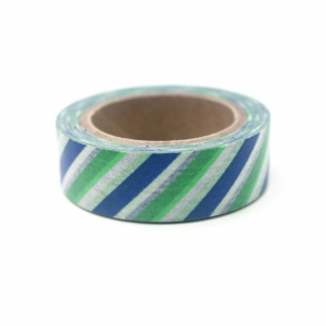 Green & blue diagonal stripe washi tape, 10m