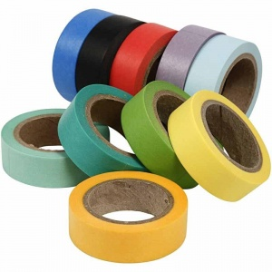 Set of 10 Plain Colour 15mm Washi Tapes, 10 Metre rolls