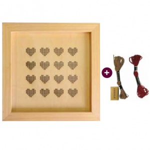 Framed Hearts Embroidery Kit, with thread and needle