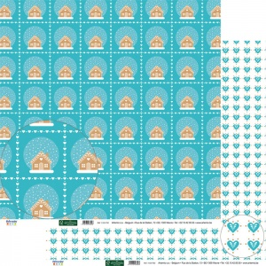 Winter houses and hearts double sided 12 inch paper