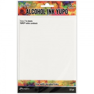 Tim Holtz Alcohol Ink Yupo White Cardstock, 10 Sheets