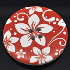 Pack of 8 White & Red Flower Round Buttons