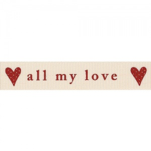 All my love 4 metre ribbon (red on natural)