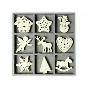 Wood ornament embellishment box - Christmas shape set 4