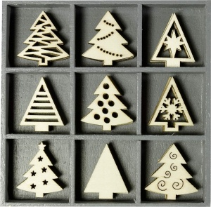 Christmas Trees Ornament Embellishments in box