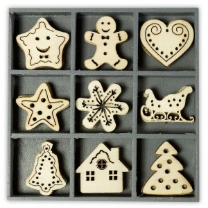 Box of Wood Christmas Embellishments, Filigree Style
