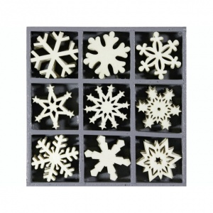 Wooden Snowflake Shapes Embellishment Box