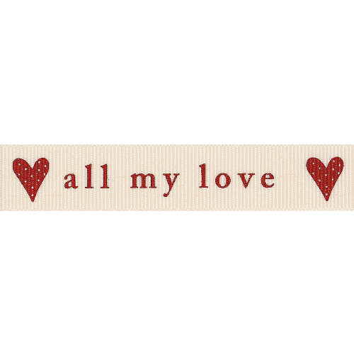 stickytiger all my love 4 metre ribbon red on natural