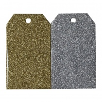 Gold & Silver Glitter Tags, pack of 20