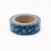 Musical instruments blue washi tape, 10m