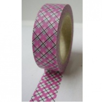 Pink Argyle/Plaid washi tape, 10 metres, 15mm wide