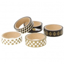 Black & Gold Tape Set, 5 Different Designs
