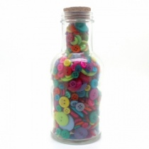 Bottle of bright buttons