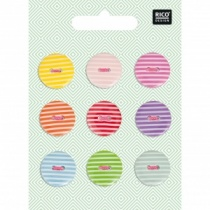 Set of 9 Buttons - Mixed Stripes