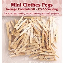 Mini Clothes Pegs - Natural