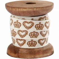 Vintage style crown & hearts ribbon on spool
