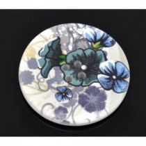 Pack of 3 Blue Iris Flower Round Buttons