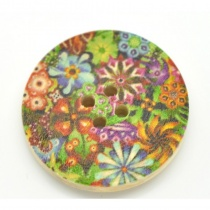 Multi Green Flower Round Buttons (pack of 3)