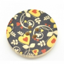 Pack of 3 Black, Yellow & Red Heart Round Buttons
