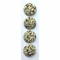 30mm Brown & Cream Fabric Covered Buttons