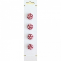 20mm Deep Red Leaf Fabric Covered Buttons (pack of 4)