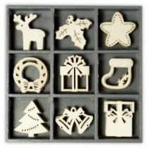 Wood ornament embellishment box - Christmas shape set 2