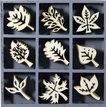 Wood Ornament Leaves Embellishment Box