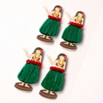 Hula Girl Mini Stickers, Set of 4