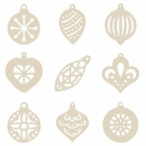 Box of 27 mini wooden Christmas bauble shapes