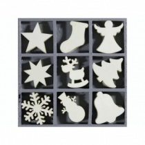 Plain Christmas Wooden Shapes in box