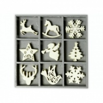 Wooden Christmas Shapes Embellishment Box
